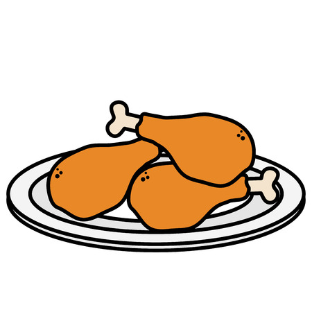 dish with delicious chicken thighs vector illustration design