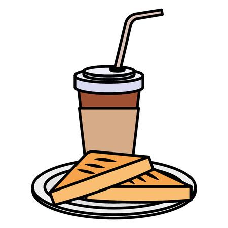 coffee drink with bread toast vector illustration design Illustration