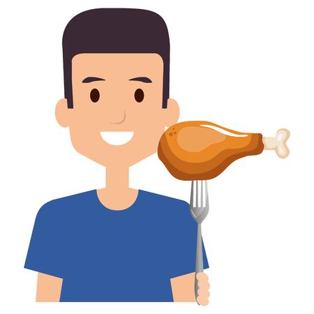 man with chicken thigh in fork vector illustration design