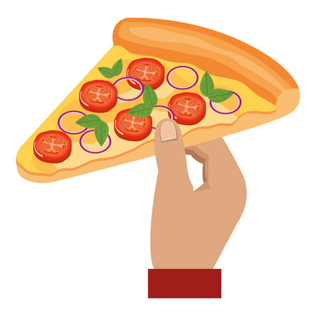 hand with italian pizza portion vector illustration design