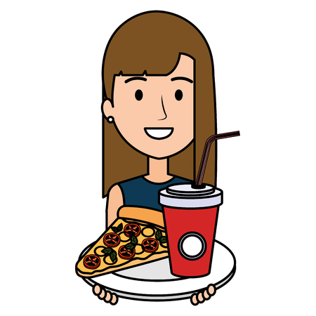 woman with italian pizza and soda vector illustration design Illustration