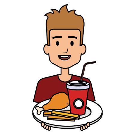 man eating chicken thigh with soda vector illustration design 일러스트