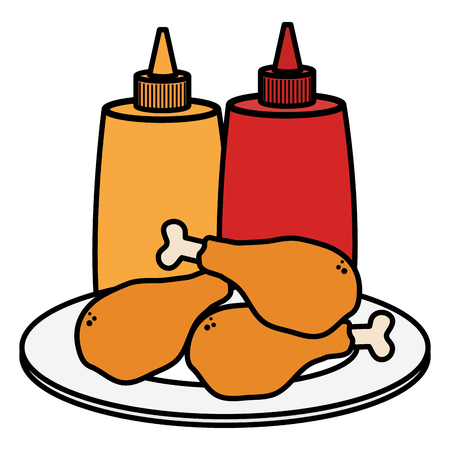dish with chicken thighs and sauces bottles vector illustration design Ilustrace