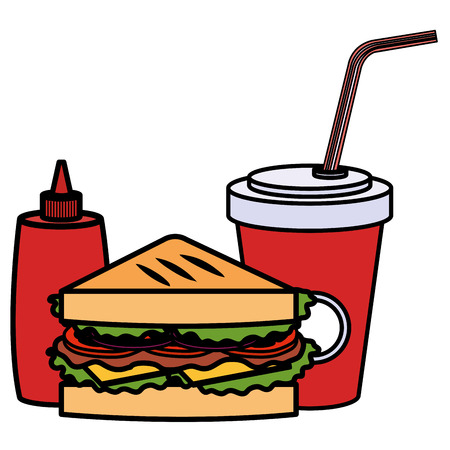 sandwish with soda and bottle ketchup vector illustration design