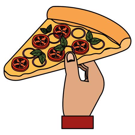 hand with italian pizza portion vector illustration design