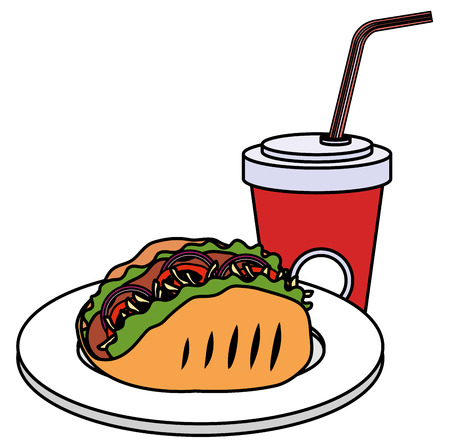 delicious mexican taco with soda vector illustration design Ilustração