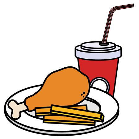 delicious chicken thigh with soda vector illustration design Ilustração