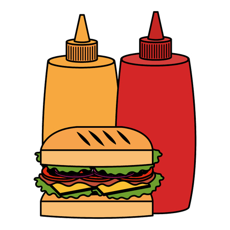 delicious burger with sauces bottles vector illustration design