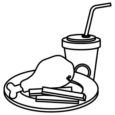 delicious chicken thigh with soda vector illustration design