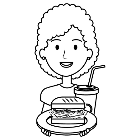 woman with delicious burger and soda vector illustration design Illustration
