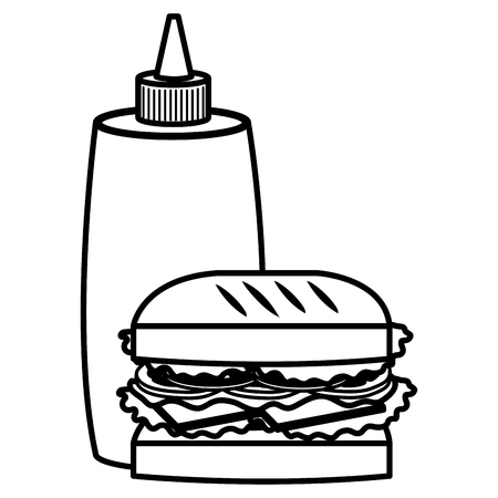 delicious burger with sauce bottle vector illustration design