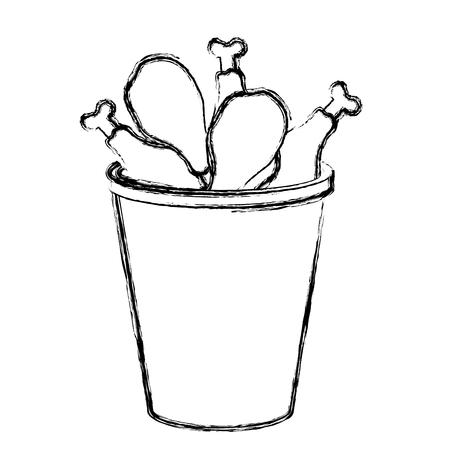 chicken thighs in pot vector illustration design