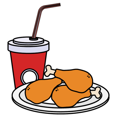 dish with chicken thighs and soda vector illustration design Ilustração