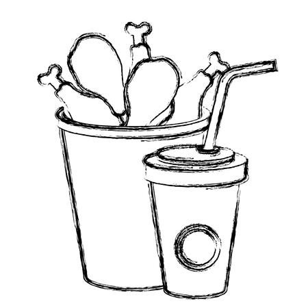 chicken thighs in pot with soda vector illustration design Reklamní fotografie - 110422155