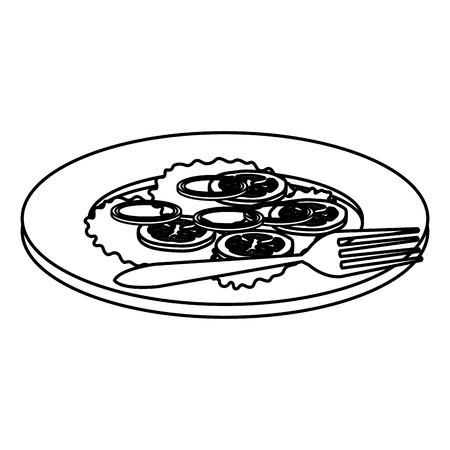 dish with vegetables and fork vector illustration design Standard-Bild - 110422157