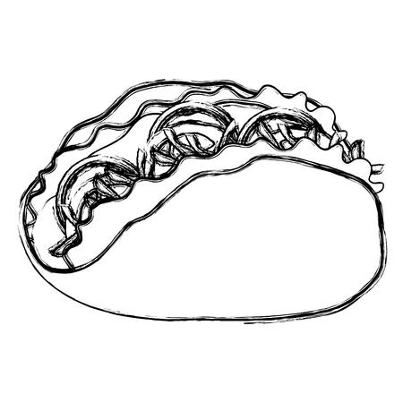 delicious mexican taco icon vector illustration design