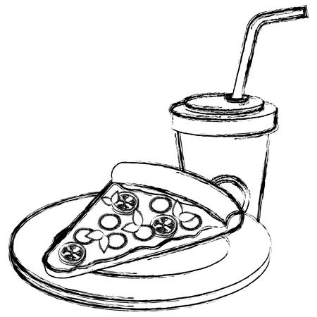 delicious italian pizza with soda vector illustration design