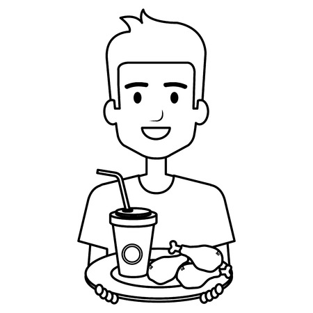 man eating chicken thighs and soda vector illustration design Ilustração