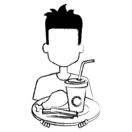 man eating chicken thigh with soda vector illustration design Ilustração