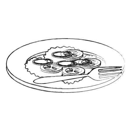 dish with vegetables and fork vector illustration design Standard-Bild - 110422179