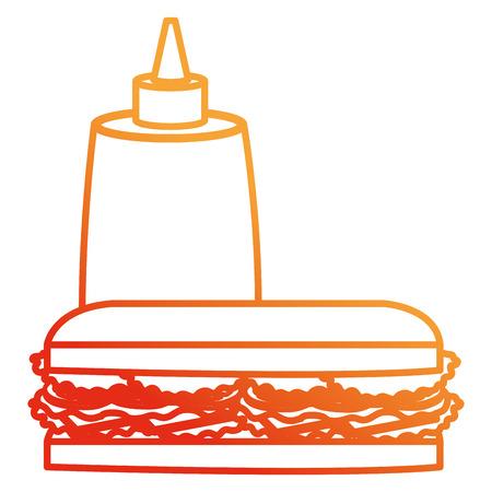 delicious sandwish with sauce bottle vector illustration design