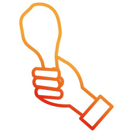 hand with chicken thigh vector illustration design