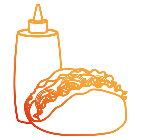 delicious mexican taco with sauce bottle vector illustration design Иллюстрация