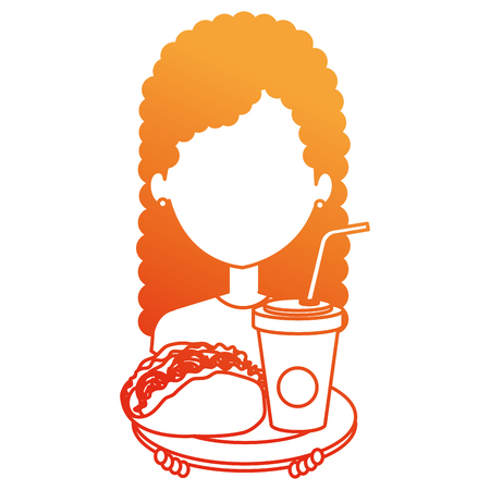woman with mexican taco and soda vector illustration design 일러스트
