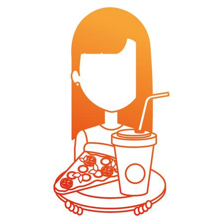 woman with italian pizza and soda vector illustration design Ilustração