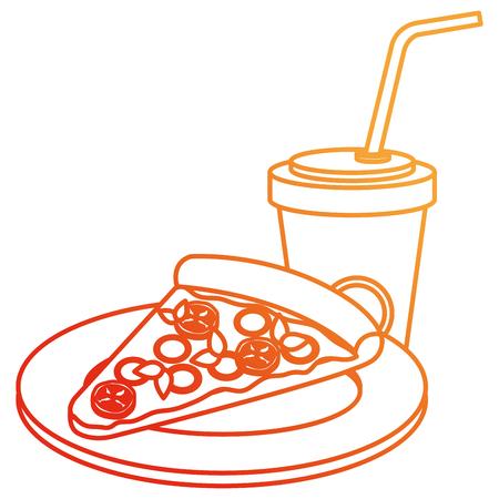 delicious italian pizza with soda vector illustration design Imagens - 110422191