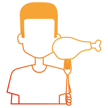 man with chicken thigh in fork vector illustration design Reklamní fotografie - 110422196