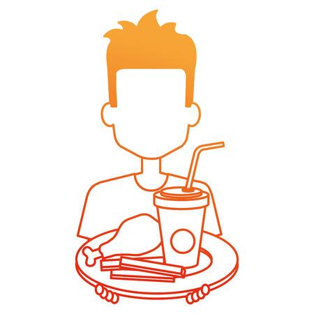 man eating chicken thigh with soda vector illustration design Imagens - 110422197