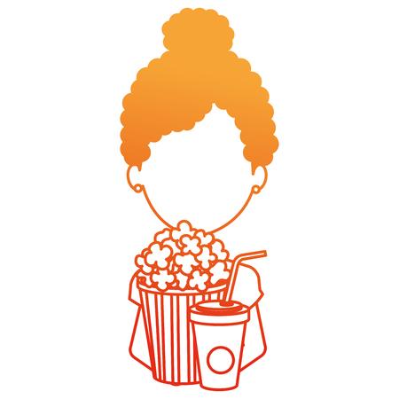 woman with pop corn and soda vector illustration design Standard-Bild - 110422204
