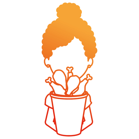 woman with chicken thighs in pot vector illustration design