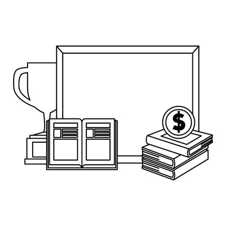 Pila de libros de texto con pizarra y trofeo, diseño de ilustraciones vectoriales Ilustración de vector
