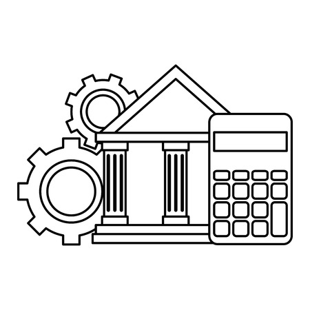 bank building with calculator and gears vector illustration design