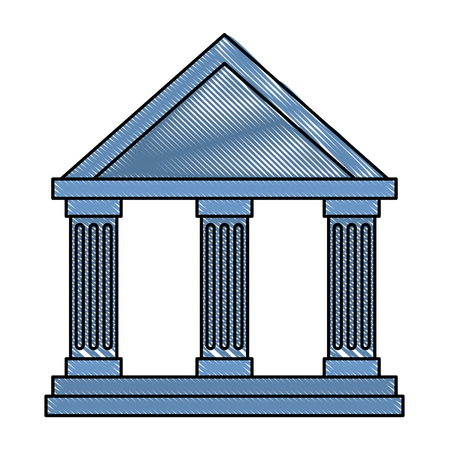 bank building isolated icon vector illustration design Çizim