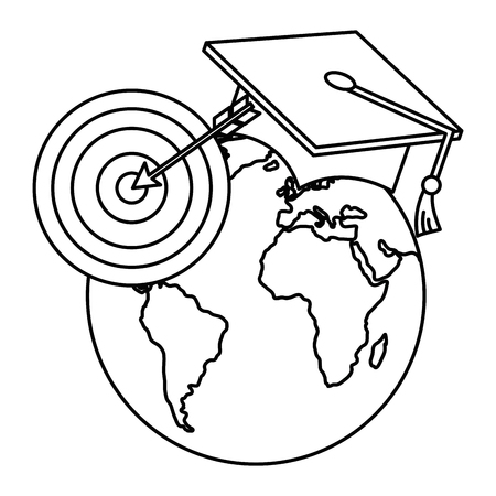 planet graduated with target vector illustration design
