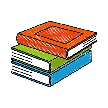Pila de libros de texto icono aislado diseño ilustración vectorial