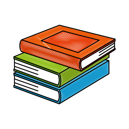 pile text books isolated icon vector illustration design Çizim