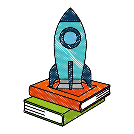pile text books with rocket vector illustration design