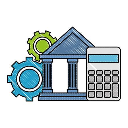 Edificio bancario con calculadora y engranajes, diseño de ilustraciones vectoriales