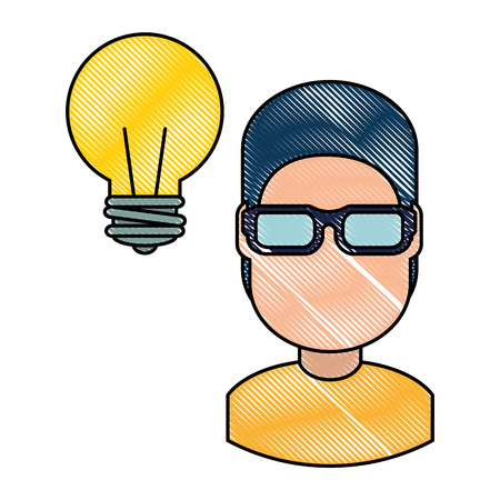 young man with bulb vector illustration design