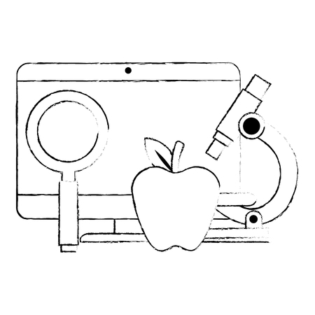 computer desktop with magnifying glass and apple vector illustration