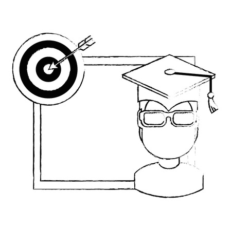 student graduated with chalkboard and target vector illustration design Çizim