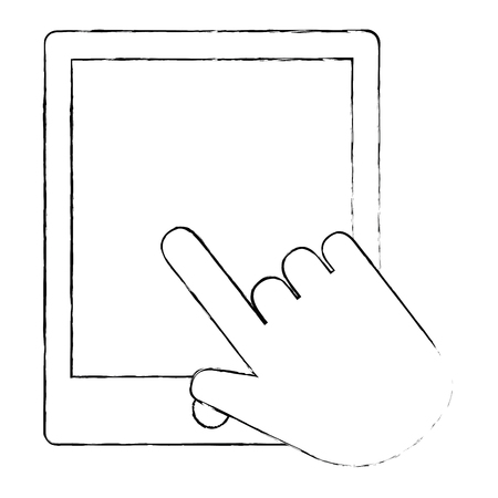 hand using tablet electronic vector illustration design
