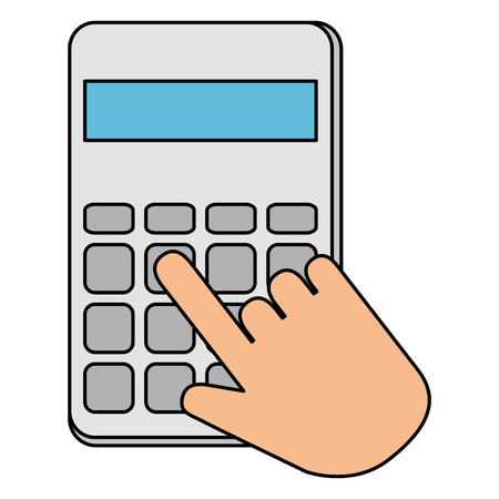 hands with calculator math isolated icon vector illustration design