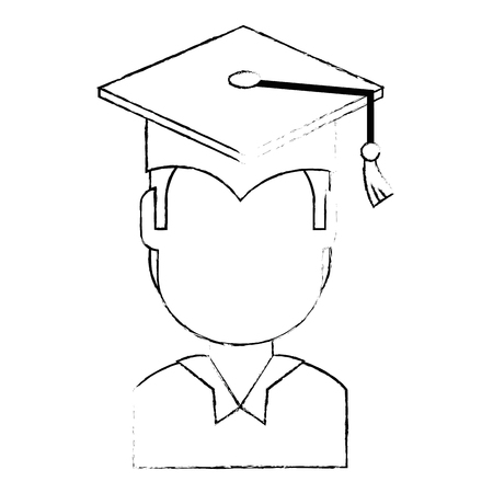 student graduated avatar character vector illustration design Çizim