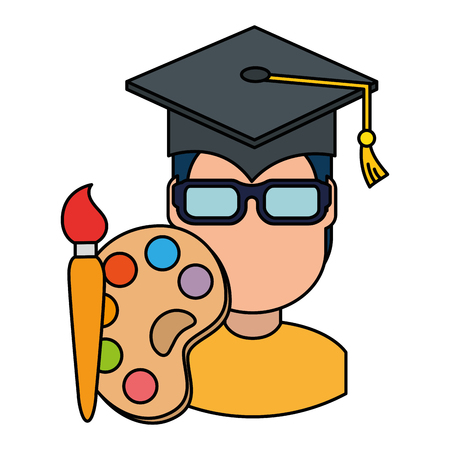 student graduated with paint brush and pallette vector illustration design