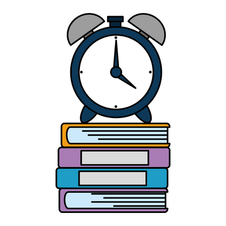 pile text books with alarm vector illustration design